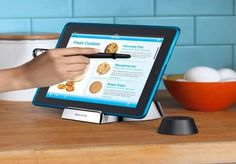 Designed for chefs who keep their recipes on tablets. You can use the Belkin Kitchen Stand and Wand / Stylus for Tablets in your home or professional kitchen and make those hours of recipe browsing less messy and more organized. Cooking Gadgets, Gadgets And Gizmos, Cool Gadgets, Kitchen Gadgets, Kitchen Tools, Kitchen Ideas, Kitchen Products, Kitchen Things, Kitchen Gifts