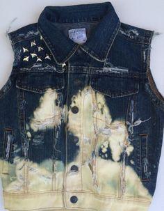 Bleached Cross Back Studded Denim Vest by LuLuChris58 on Etsy