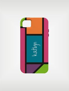 Personalized iPhone Case 4 / 4S or 3G - Neon Color block - original design by a drop of golden sun. 80's comeback anyone?