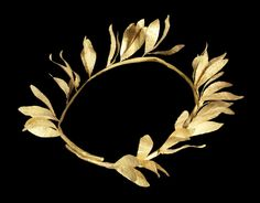 A Hellenistic gold diadem Circa Century B. Composed of a tubular stem forming an overlapping ring with sprays of leaves each with a central repoussé vein, the sprays attached to the diadem with gold wire, diam including leaves;