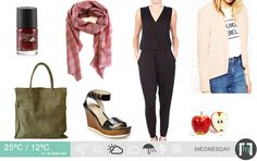 The daily forecast for November. The classic is back. Jumpsuit and nude blazer combo with wedge sandals. Daily Weather, Fashion Forecasting, Cape Town, Daily Fashion, Wedge Sandals, November, Jumpsuit, Nude, Blazer