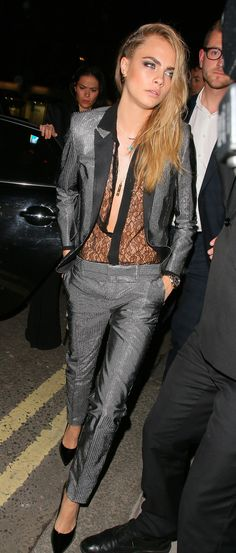 Cara was a show-stopper at the W Magazine September issue party in a metallic suit and sheer lace top. via @stylelist   http://aol.it/1q6wmD9