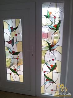 Etched Glass Door, Stained Glass Door, Making Stained Glass, Stained Glass Flowers, Stained Glass Crafts, Stained Glass Designs, Stained Glass Panels, Stained Glass Patterns, Leaded Glass
