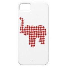 Red Houndstooth Elephant iPhone 5 Covers