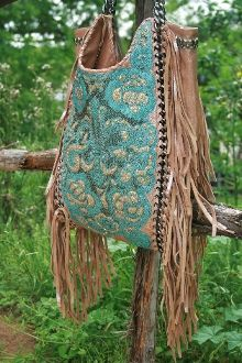 Kippys Turquoise Fringe Purse w/ Chain Handles!! Im in LOVE