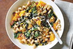 This hearty pasta is studded with seasonal vegetables, like squash and Swiss chard.