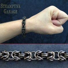 BLACK Steel Byzantine - Chainmaille Bracelet