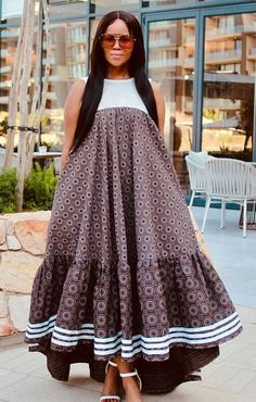 The best thing about Africa styles is that they are available for ladies of all ages. LATEST SESHOESHOE DRESSES to make you look elegant. Seshoeshoe Dresses, African Wear Dresses, Latest African Fashion Dresses, African Inspired Fashion, African Print Fashion, Africa Fashion, African Attire, Dress Fashion, Fashion Outfits