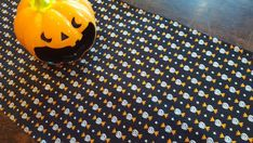 Table Runner Halloween Candy on Black with Glitter Padded Halloween Wine Bottles, Halloween Table Runners, Candy Table, Gift Table, Cloth Napkins, Halloween Candy, Table Covers, Black Backgrounds, Printing On Fabric