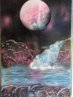 Spray paint space art.