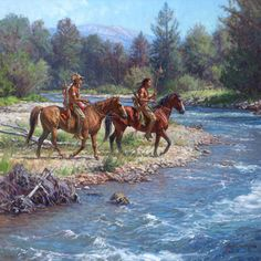 Wolves on Rock Creek Art Prints by Martin Grelle Artist. Two Native American scouts on horseback getting ready to cross the creek to hunt for more game. Native American Paintings, Native American Wisdom, Native American Pictures, Native American History, Indian Paintings, Into The West, West Art, Rock Creek, American Indian Art