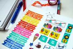 These would be awesome in a SMASH BOOK or a scrapbook!   PRINTABLE Play Time Planner Sticker Set by craftcakedesigns