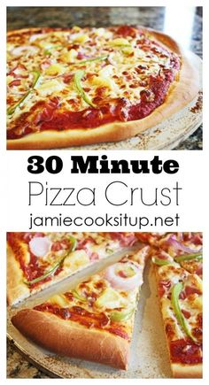 30 minute pizza crust from Jamie Cooks It Up! This fabulous crust couldn't be easier. Make some tonight...your family will be so happy. :)