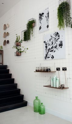 You can play with this wall and chance the look over and over. Different plants mixed with art and shelves