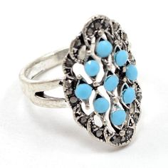 Marcasite & Turquoise 925 Silver Overlay Ring Eternity Jewelry Sz 10 AU 15099 #PinkCityGems #ExclusiveCollection