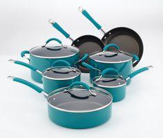 Amazon.com: KitchenAid Aluminum Nonstick 12-Piece Cookware Set, Peacock: Kitchen & Dining