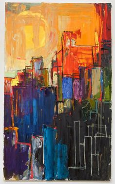 3ft x 5ft City Abstraction Oil Painting by BeccaGarrisonStudio,