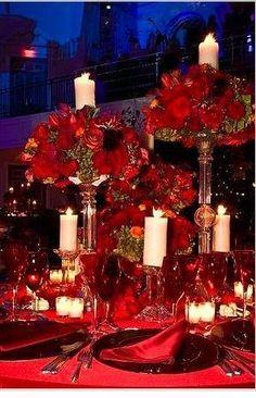 red flower settings | Found on weddingwire.com