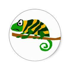 funky green and yellow chameleon lizard art sticker via zazzle