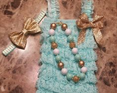 Light Aqua/Mint Green Petti Lace Romper Headband and Necklace 3 piece set,Birthday,flower girl,ballerina,infant, toddler,