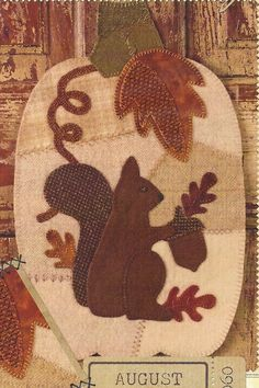 Primitive Folk Art Wool Applique Pattern:  AUGUST -- WHITE PUMPKIN   (Wool Crazy Series)