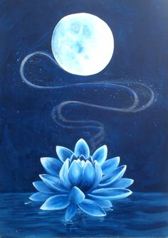 Resultado de imagen para sun and moon and lotus flower Lotus Painting, Moon Painting, Painting & Drawing, Lotus Flower Paintings, Flor Tattoo, Blue Lotus Flower, Lotus Flowers, Moonflower, Moon Art