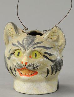 Antique Halloween Cat Lantern.