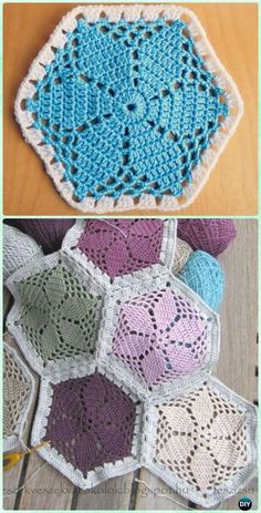 Crochet Granny S Garden Flower Hexagon Motif Free Pattern Patterns. Hexagon Crochet Pattern, Crochet Motifs, Crochet Blocks, Crochet Flower Patterns, Crochet Squares, Crochet Blanket Patterns, Crochet Afghans, Free Pattern, Crochet Hexagon Blanket