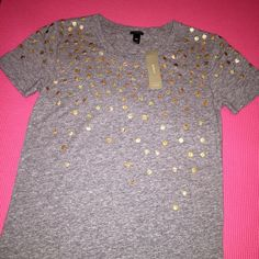 J Crew T-shirt New with tags J Crew t-shirt with golden dots embellishment. Size XXS, but will fit XS as well. 100% cotton. J. Crew Tops Tees - Short Sleeve