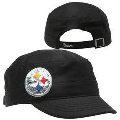 PITTSBURGH STEELERS~'47 Brand Pittsburgh Steelers Ladies Sparkle Fidel Adjustable Hat - Black