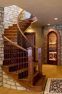 Wood & iron stair railing <3