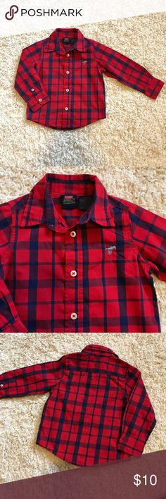 Red plaid long sleeve shirt Wrangler Jeans Co Navy blue and red plaid Perfect condition.  Material: 60% cotton - 40% polyester Wrangler Shirts & Tops Button Down Shirts