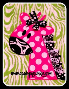 Embroidery Designs Ribbon Giraffe Applique Design - This easy little giraffe is super fun and a quick stitch! Nice wide satin stitches complete the edages professionally and nice! If you have never done a ribbon design this one is super easy! Applique Templates, Applique Patterns, Applique Designs, Applique Tutorial, Applique Ideas, Machine Embroidery Applique, Silk Ribbon Embroidery, Embroidery Stitches, Cat Applique