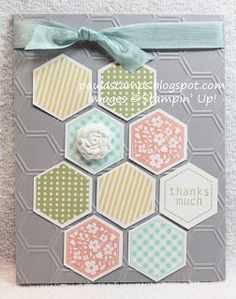 handmade card ... Six Sided Sampler ... Hexagon Punch ... Honeycomb embossing folder ...Simply Pressed Clay flower ...luv the soft colors and the stamped patterns in the hexagons ... Stampin' Up!