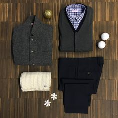 Man outfit for New Year's Eve. Cotton gingham shirt, cashmere blend gray vest, blue navy light wool trousers, wool scarf, grey felt jacket.  #SUN68 #SUN68xmas #newyear #happynewyear #party #woolscarf #cottonshirt #jacket #felt