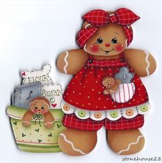 HP GINGERBREAD with Baking Supplies FRIDGE MAGNET #Handpainted