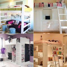 Ideia: economize espaço com as camas suspensas Small Places, Room Inspiration, Kitchen Decor, Sofa, Interior Design, Space, Bedroom, House, Furniture