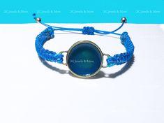 Blue sea enamel circle gold plated brass macrame adjustable bracelet