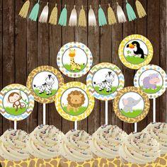 Safari Jungle Cupcake Toppers Safari Party por TheLovelyDesigns