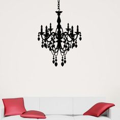 "Style and Apply Chandelier Wall Decal Size: 72"" H x 46"" W, Color: Dark Green"