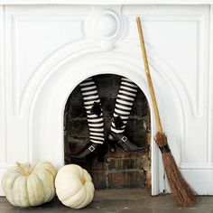 Witch stocking fireplace decor.