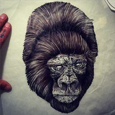 #gorilla #flash #flashworkers #black #illustration #blackworkers #blacktattooart #Gael_Cleinow aka #hand_job_tattoo       //// waiting for your skin                       ====================================Gaël Cleinow contact for tattoo at handjob.booking@gmail.com (at Toe Loop Tattoo)