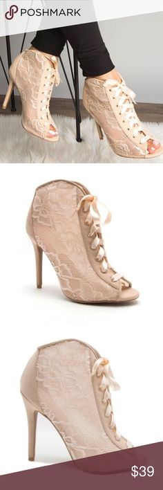 """Nude Lace Corset Peep Toe Heels Material: Man made, leatherette Sole: Synthetic Measurement:  Heel Height: 4 1/8"""" (approx.) True to size fit A Mermaid's Epiphany Shoes Ankle Boots & Booties"""