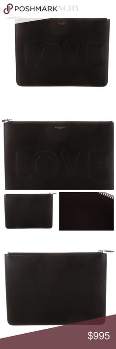 """GIVENCHY """"LOVE"""" BLACK LEATHER CLUTCH POUCH Givenchy sold black leather clutch pouch w silver-tone hardware, embossed """"LOVE"""" accent at front, Givenchy in soft gold toned at front and features zip closure at top. Fabulous Pouch! LOVE it! Material: Leather. Lining: Black Suede. May have minimal creases or light scratches due to nature of leather, but I didn't detect any visible signs of wear when I examined during taking pics. Approx Measurements: Height 9"""", Width 11.5"""", Depth 0.25"""". SOLD OUT…"""