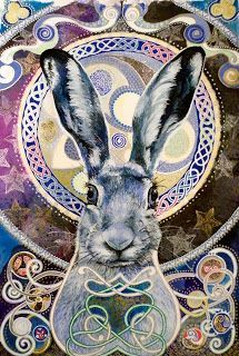 Celtic Hare by joanne at Celtic Wildwood The Symbolism of Rabbits and Hares by Terri Windling We can glimpse possible interpretations, however, by examing the wealth of world mythology and folklore. Jack Rabbit, Rabbit Art, Rabbit Totem, Bunny Rabbit, Illustrations, Illustration Art, Lapin Art, Bunny Art, Funny Bunnies