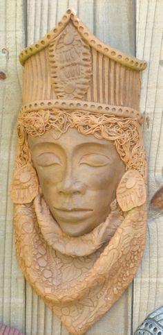 ceramic mask; by glenda coley