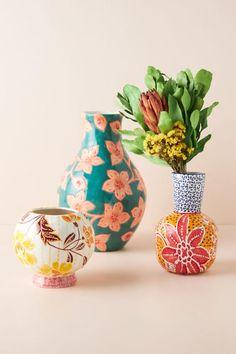 Anthropologie, Bud Vases, Flower Vases, Painted Pots, Hand Painted, Pottery Painting, Painting Vases, Painted Pottery, Room Wall Decor