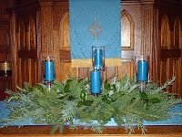 """Creative Advent Worship - candles were carried out a the end of each service. Pastor would bring lit candles to someone in congregation and ask, """" """"Are you willing to carry the Light of the Holy Promise of Advent into the darkness of the world. If so, rise and walk with me."""""""