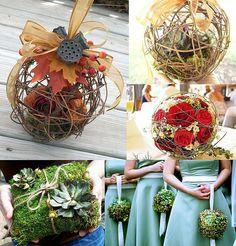 DIY your own rustic twig ball bouquet. Would also make a super cute hanging garden/porch decoration. Pagan Wedding, Diy Wedding, Rustic Wedding, Wedding Ideas, Wedding Stuff, Woodland Wedding, Floral Bouquets, Wedding Bouquets, Wedding Flowers