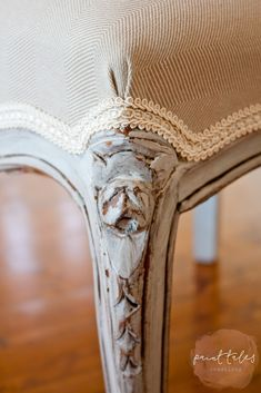 Paint Tales - Reupholstered dining chair using MMSMP. Painted in Farmhouse white, distressed & sealed with Furniture Wax & Antiquing wax. Upholstered with simple cotton canvas & Herringbone fabric Painted Dining Chairs, Herringbone Fabric, Dining Upholstery, Painted Furniture, Dining, Reupholster Chair Dining, Chair, Reupholster Chair, Furniture Wax